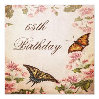 "Butterflies & Vintage Almond Blossom 65th Birthday 5.25"" Square Invitation Card"