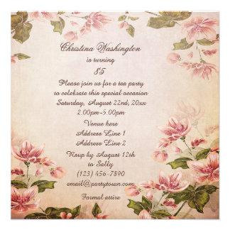Butterflies & Vintage Almond Blossom 85th Birthday Invite