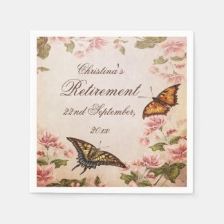 Butterflies & Vintage Almond Blossom Serviettes Disposable Napkins