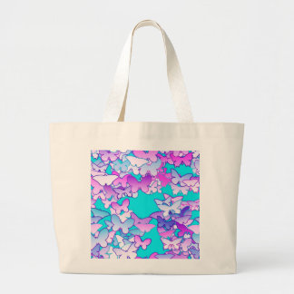 Butterflies, violet and turquoise large tote bag