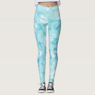 Butterflies watercolor light blue white leggings