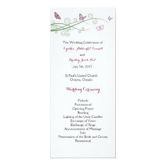 "Butterflies Wedding Ceremony Program 4"" X 9.25"" Invitation Card"