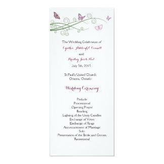 Butterflies Wedding Ceremony Program 4x9.25 Paper Invitation Card