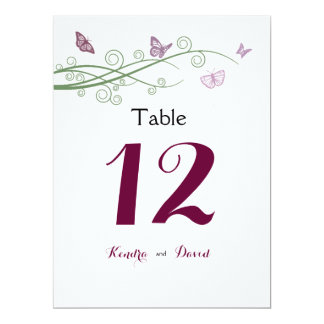 """Butterflies Wedding Table Number 6.5"""" X 8.75"""" Invitation Card"""