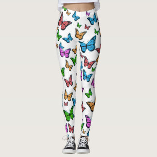 Butterflies - White Background Leggings