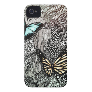Butterflies with Black and White Design iPhone 4 Case