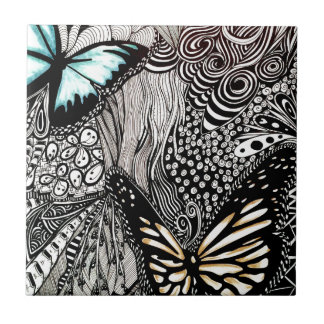 Butterflies with Black and White Design Tile