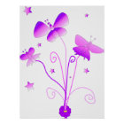 Butterflies with Flower Poster