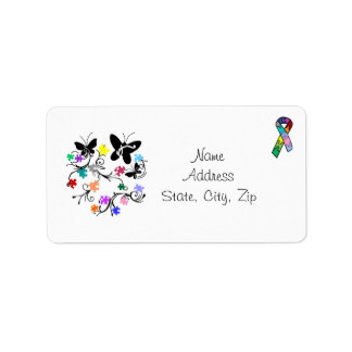 Butterflies with puzzle pieces address labels