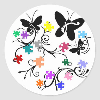 Butterflies with puzzle pieces stickers
