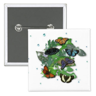 Butterflies with sheets, rain drop, beads 2 inch square button