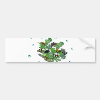 Butterflies with sheets, rain drop, beads bumper sticker