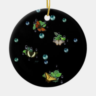 Butterflies with sheets, rain drop, beads round ceramic ornament