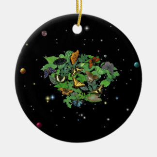 Butterflies with sheets, rain drop, stars round ceramic ornament