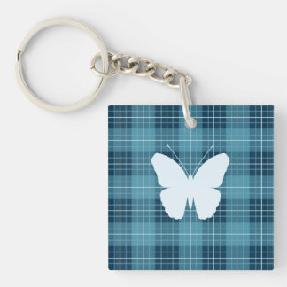 Butterfly (2Way) on Plaid Blues Double-Sided Square Acrylic Keychain