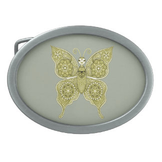 Butterfly 4 oval belt buckle