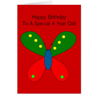 Butterfly 4th Birthday Card