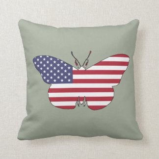 """Butterfly """"American Flag"""" Throw Pillow"""