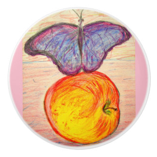 Butterfly and Apple Ceramic Knob