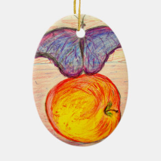 Butterfly and Apple Ceramic Ornament