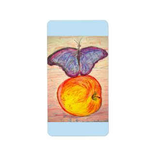 Butterfly and Apple Label