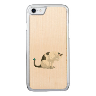 Butterfly and Bathing Cat Carved iPhone 8/7 Case