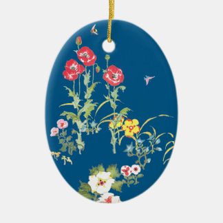 Butterfly and Bee in the Poppy Garden Ceramic Ornament