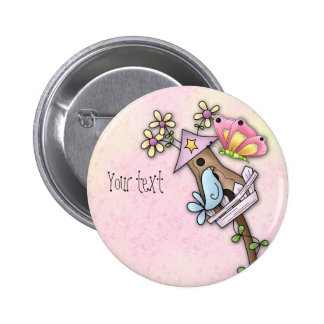 Butterfly and bird meeting at the birdhouse 2 inch round button