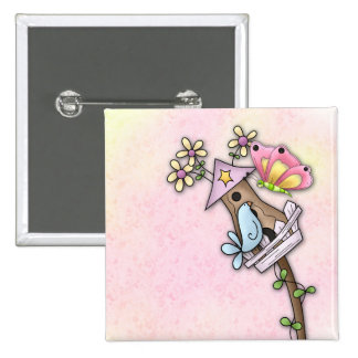 Butterfly and bird meeting at the birdhouse 2 inch square button