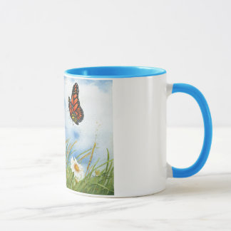 Butterfly and Daisies Mug