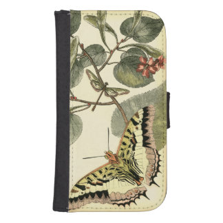 Butterfly and Dragonfly with Red Flowers Phone Wallet Case