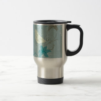 butterfly and flora patterns mug