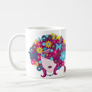 Butterfly and floral beauty woman head mug