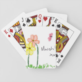 Butterfly and flower crayon drawing. Kisses. Poker Deck