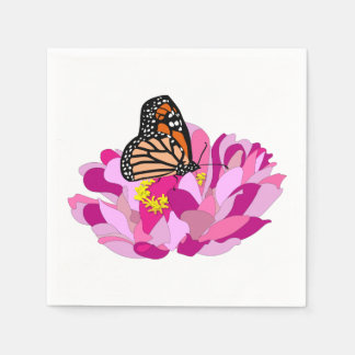 Butterfly And Flower Paper Napkin