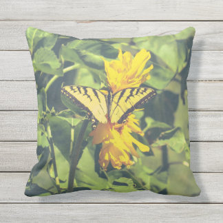 Butterfly and Flower Yellow Outdoor Pillow