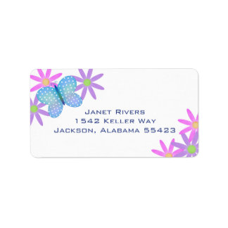 Butterfly and Flowers Address Stickers
