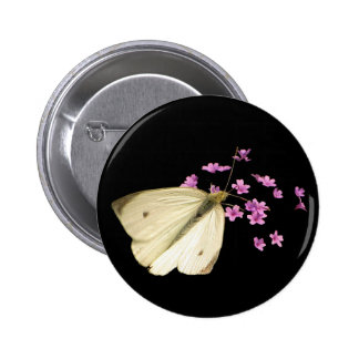 Butterfly and Flowers 2 Inch Round Button