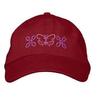 Butterfly And Flowers Embroidered Baseball Cap