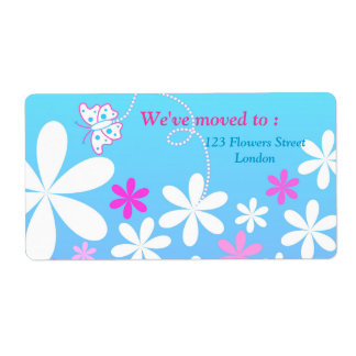 Butterfly and flowers shipping labels