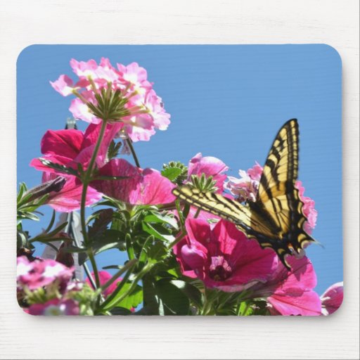 Butterfly and Flowers Mouse Pad