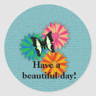 Butterfly and Flowers on Blue Message Sticker