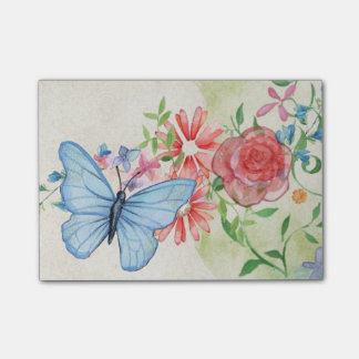 Butterfly And Flowers Post-it Notes
