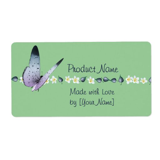Butterfly and Flowers Product Label