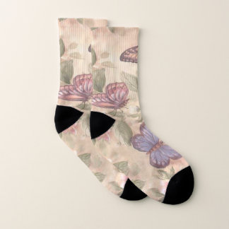 Butterfly And Flowers Socks 1