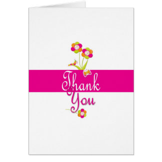 Butterfly and flowers thank you card. card