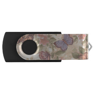 Butterfly And Flowers USB Flash Drive