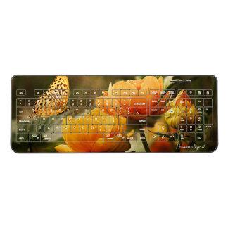 Butterfly and Flowers Wireless Keyboard