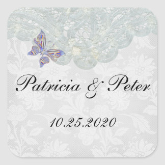 "Butterfly and Lace Square Seal Stickers 1.5""x 1.5"""
