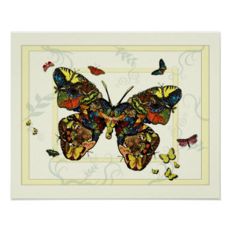 Butterfly and Moth Collage Poster